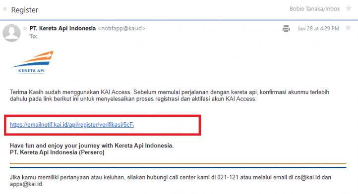 email konfirmasi pendaftaran akun kereta api online